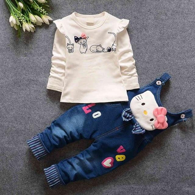 Свободного покроя дети одежда устанавливает Roupas де Bebe новорожденных девочек футболка вершины + джинсы милый мультфильм комбинезоны брюки 2 шт. костюмы MT619