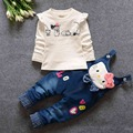 Casual  Kids Clothing Sets Roupas De Bebe Baby Girls T-Shirt Tops+Denim Jeans Cute Cartoon Overalls Pants 2 Pieces Suits MT619