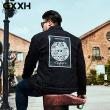 GXXH Autumn Big Size Men's Denim Coats Men Cotton Jacket Jeans Male Loose Back Printed Casual Oversize Windbreakers 4XL 5XL 6XL(China)
