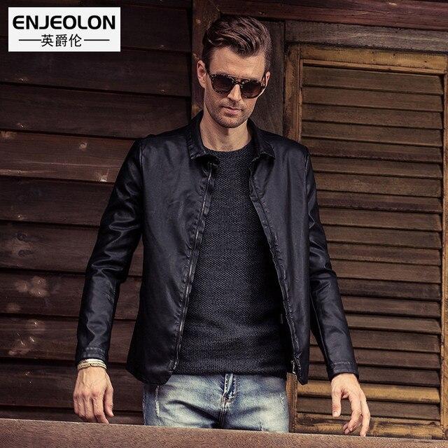 Enjeolon 2017 бренд PU Кожаные Мотоциклетные Куртки Для мужчин теплые большие размеры 4XL Костюмы Повседневное черный Пальто и пуховики P220