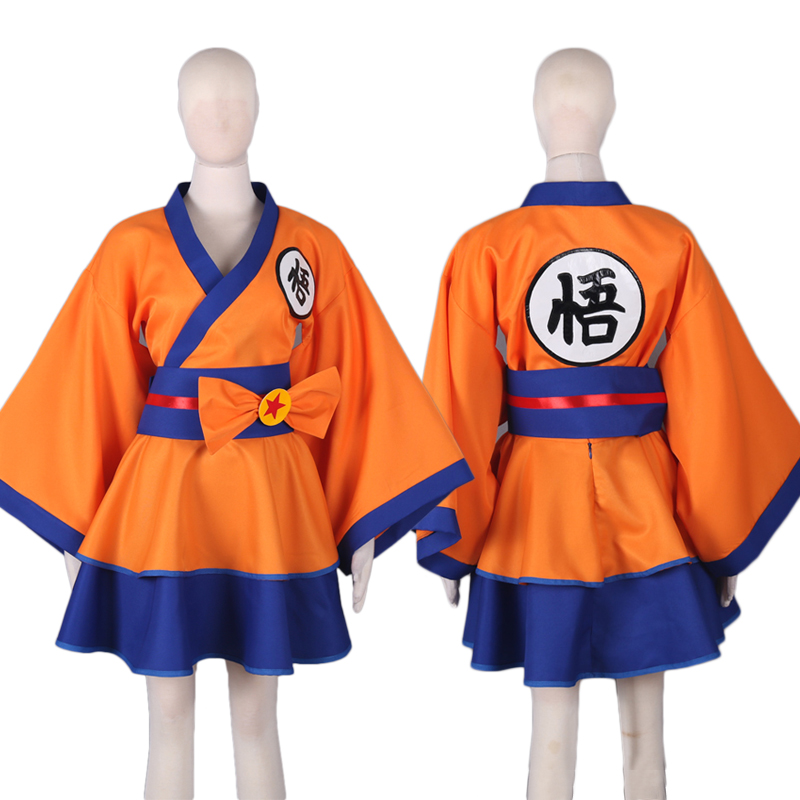 Anime Dragon Ball Son Goku Cosplay Costume Lolita Dress Japanese kimono Clothes Custom Made Top + Skirt