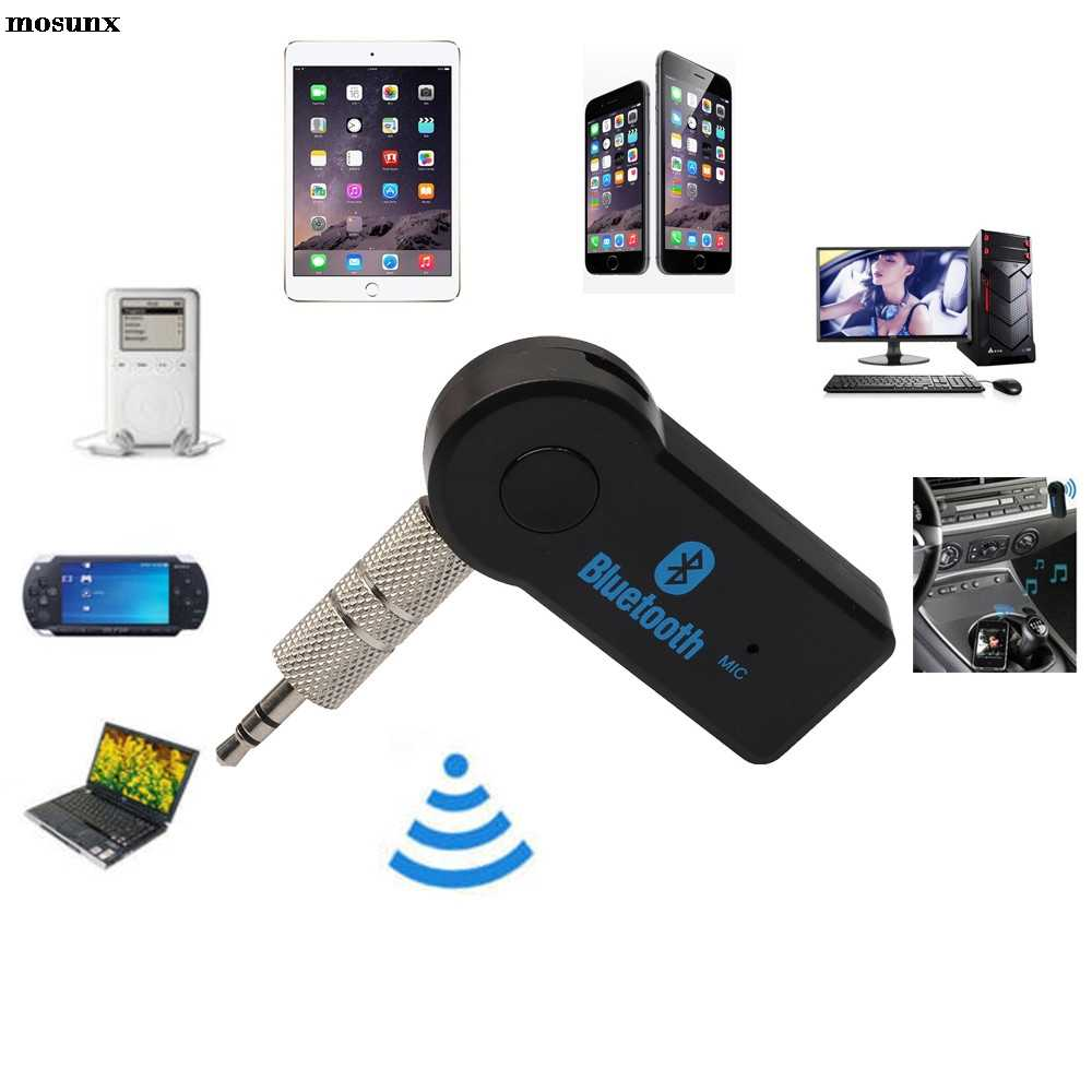 Frete grátis sem fio bluetooth 3.5mm carro aux receptor de música estéreo áudio + microfone para telefones inteligentes pc mp3 cellphomas