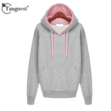 TANGNEST Women Autumn Winter 2016 New Fashion Casual Style Coat Young Ladies Solid Color Warm Hooded Outwear Size M-XXL WWW677