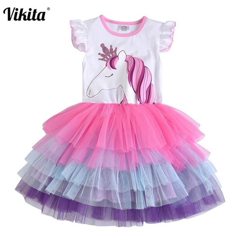 VIKITA Girls Unicorn Tutu Dress Kids Sequined Princess Vestido Girls Birthday Party Dress Children Summer Unicorn Costumes(China)