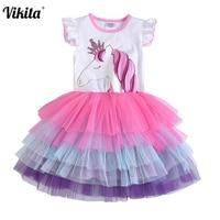 VIKITA для девочек с единорогом; детское платье-пачка принцессы с длинными рукавами и блестками для девочек, Vestido, платье для дня рождения для д...