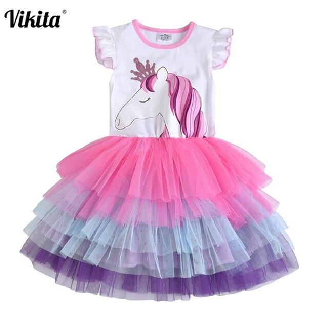 VIKITA chicas unicornio Vestido de niños con lentejuelas princesa Vestido de fiesta de cumpleaños de las niñas Vestido de verano de los niños de disfraces
