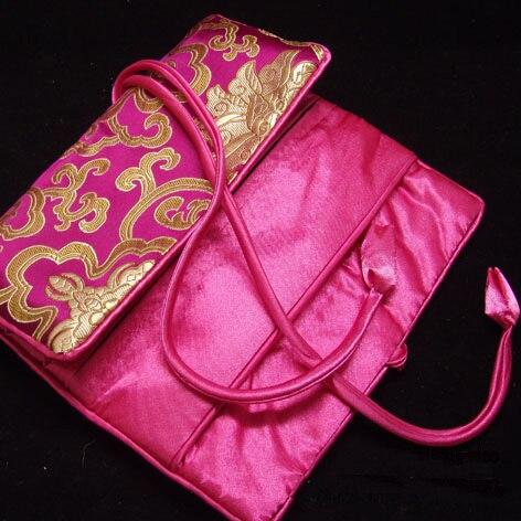 11x7 pouces luxe soie brocart bijoux rouleau sac de voyage fermeture éclair cordon cosmétique maquillage sac de rangement emballage pour bijoux