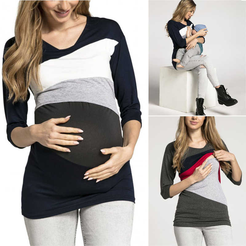 9961703145 ... Women Maternity Clothes Breastfeeding Tops Pregnant Nursing T-shirt  Blouse Patchwork Casual Tops Clothes ...