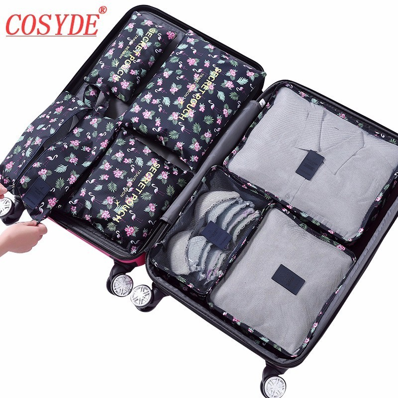 New Flamingo 7PCS/Set High Quality Oxford Cloth Ms Travel Mesh Bag In Bag Luggage Organizer Packing Cube Organiser For Clothing