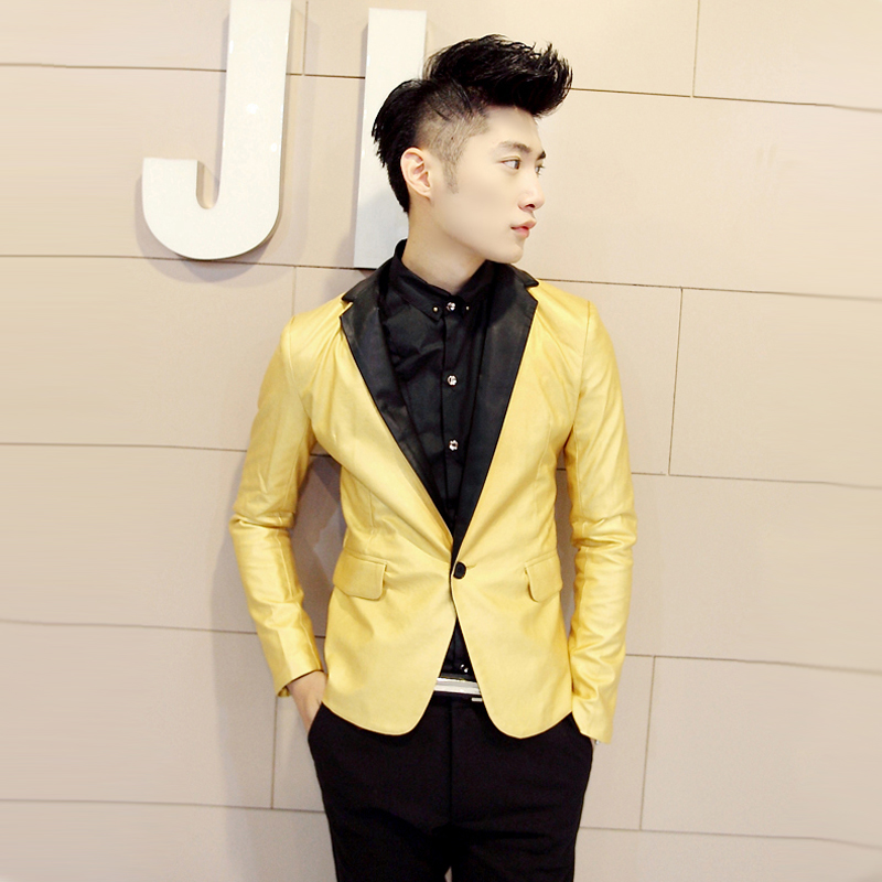 men silver suit 2015 male HARAJUKU metal gold and silver black ...
