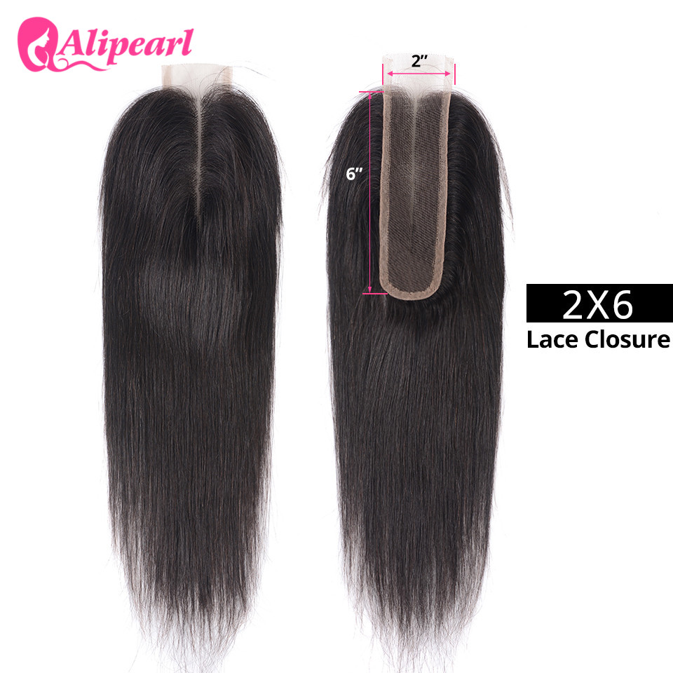 Ali Pearl Brazilian Straight Human Hair Closure 2x6 Lace Closure 100% Human Hair With Baby Hair 8''-20'' Free Shipping(China)