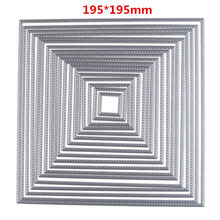 195*195mm 17Pcs/set Square Die Craft Metal Cutting Dies Scrapbooking Card Making 3D Stamp DIY Scrapbook Photo Frame Decor(China)