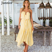 Junnior Chiffon Striped Dress Women Frilled V-neck Halter Dresses for Female Backless Beach Dress Ladies Holiday Maxi Vestido