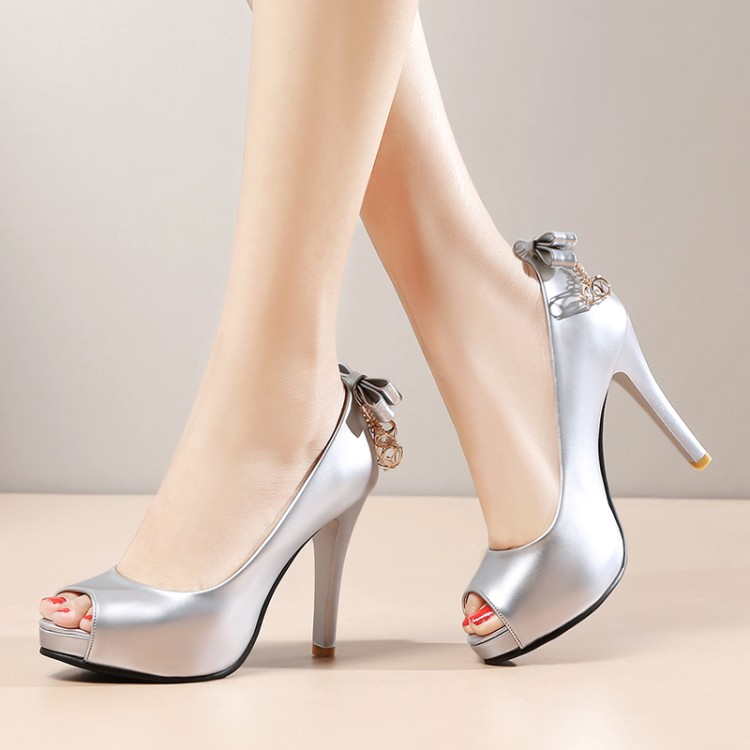 2017 The New Type of Shallow Mouth Fish Mouth High-heeled Shoes with A Bow with A Thick Slip Bottom Sandals Customized 33--42 2016 summer new leather tendon at the bottom side of the empty fish head crude rainbow low heeled shoes women xtf039