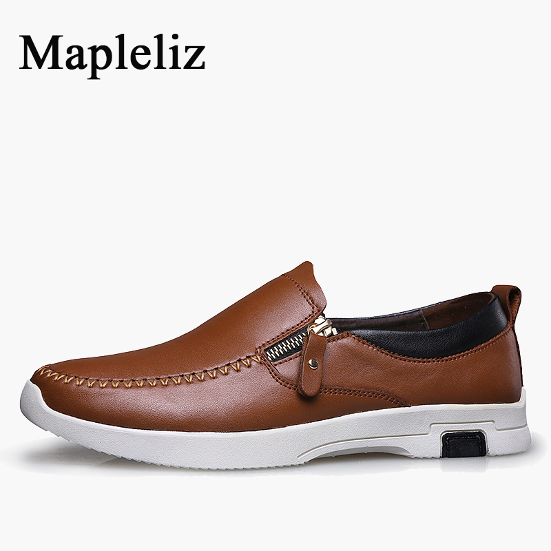 Mapleliz Brand Men Brown Causal Shoes Zip Genuine Cow Leather Sewing Male Flats Top Quality Big Size Leisure Shoes for Men