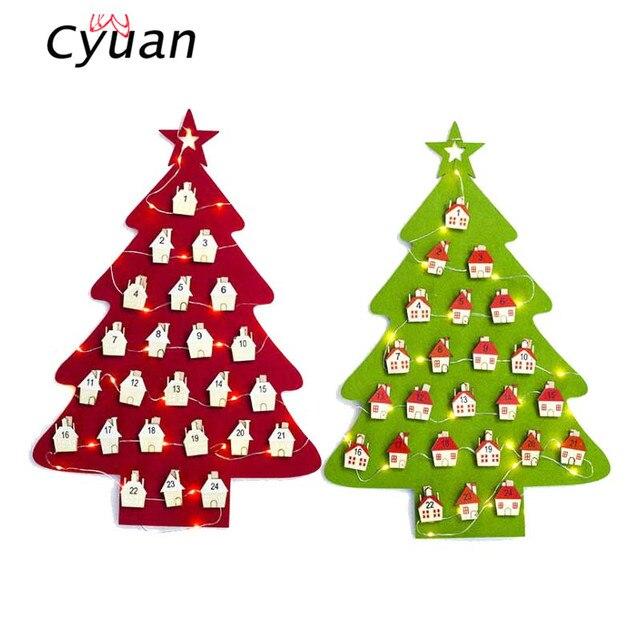 Us 9 99 Aliexpress Com Buy Cyuan 1pcs Christmas Tree Ornaments Diy Wall Calendar Christmas Tree Led Countdown Calendar New Year Xmas Decorations