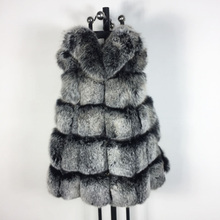 Hot New Style Black with white Fox Fur Coat Women's Natural Fox Fur Vest Warm Winter High-Quality Real Fur Coat Jacket