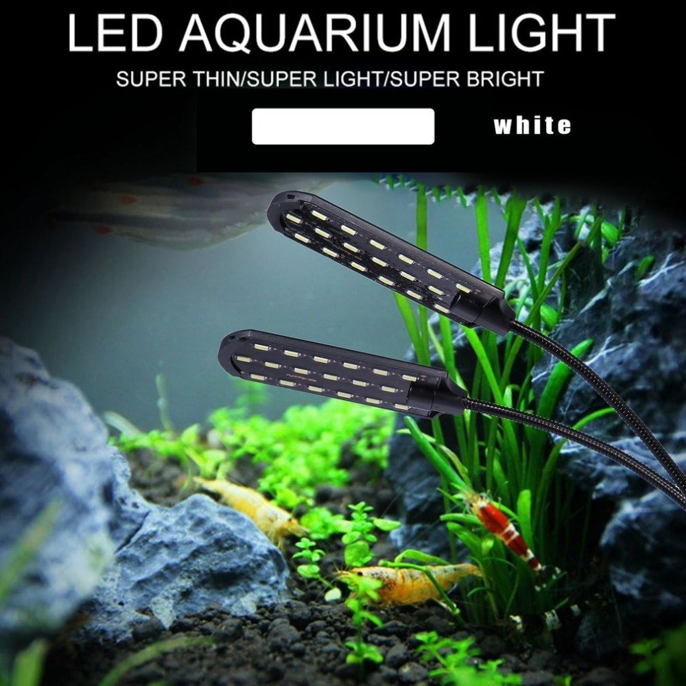 X7 EU Plug Dual Head Super Bright LED Plant Lamp Aquarium Light Plants Grow Light Waterproof Clip-on Fish Tank Light
