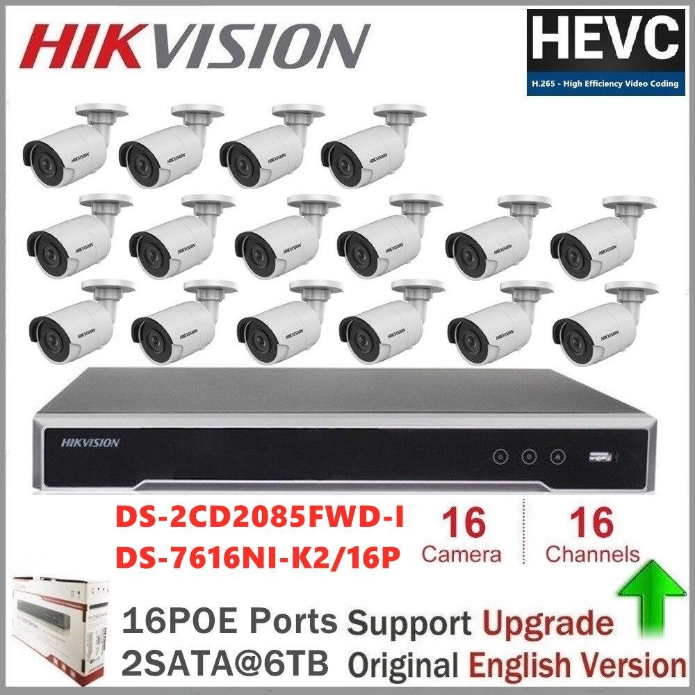 Hikvision 16CH 8MP 4K POE NVR Kit système de caméra de vidéosurveillance 8MP caméra IP de sécurité extérieure P2P système de Surveillance vidéo mis en option HDD