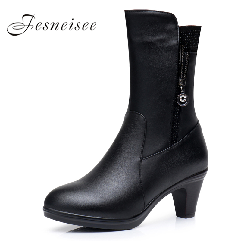 2017 New Winter Mid Calf Boots Woman Boots Genuine Leather Round Toe High Heels Rain Boots Metal decoration Shoes Size 35-40 M4 2017 latest men s mid calf boots genuine leather buckle strap round toe men s leather shoes chakku motorcycle boots