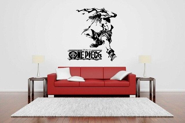 벽 장식 비닐 스티커 벽화 포스터 원피스 에이스 애니메이션 만화 벽 스티커, 거실, 소년 방 장식, HZW04