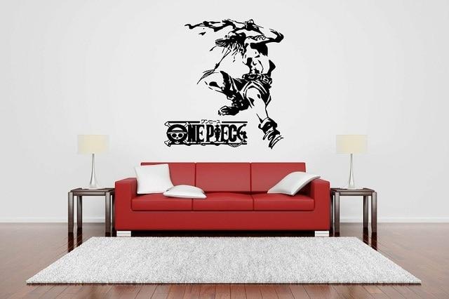 Pared adhesivo de vinilo de decoración mural póster One Piece Ace anime calcomanías de pared de dibujos animados, sala de estar, decoración para habitación de niño, HZW04