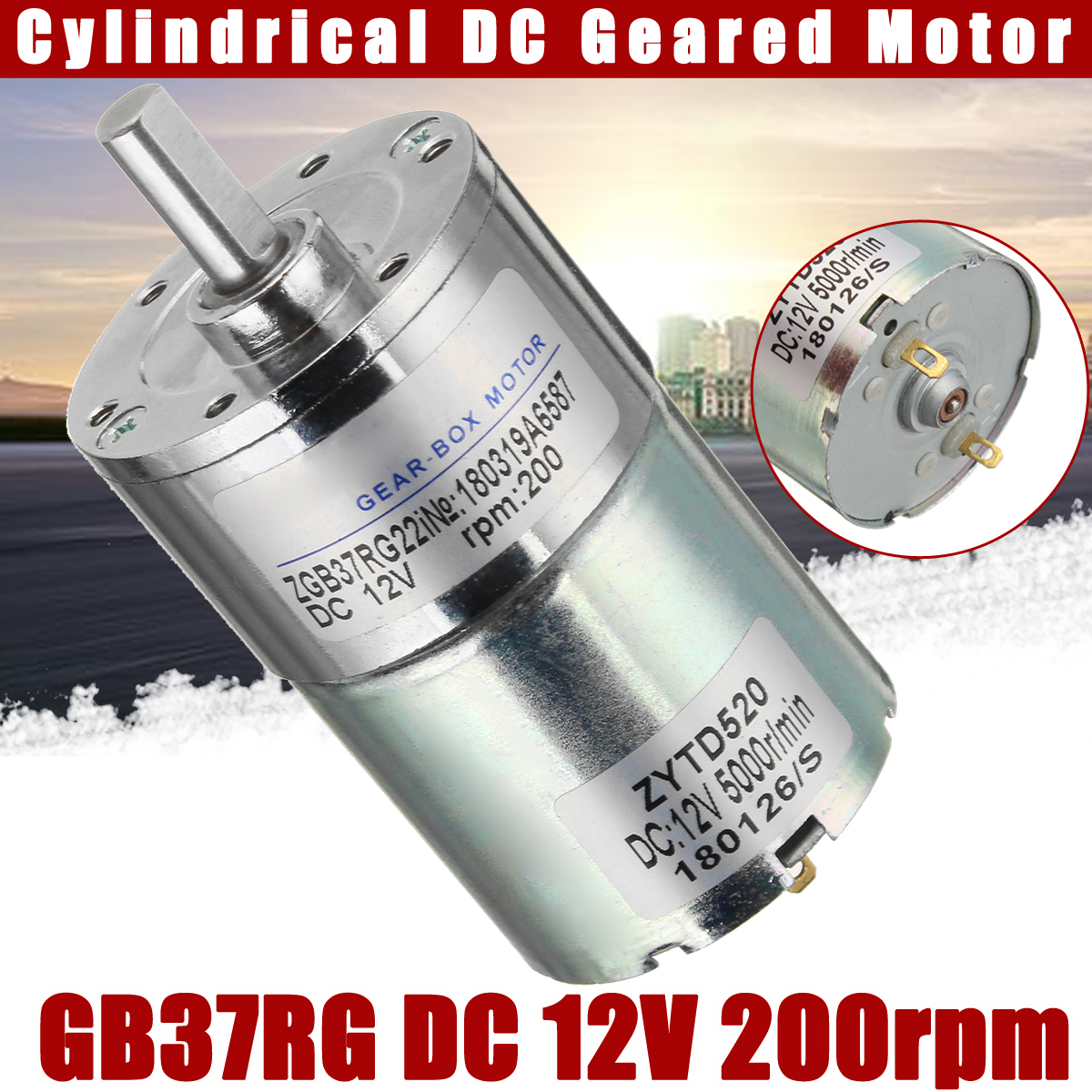 DC 12V 200rpm 1500 6mm Shaft Dia Cylindrical Permanent Magnet DC Gear Reduction Motor Rated DIY Robot ZGB37RG Adjustable