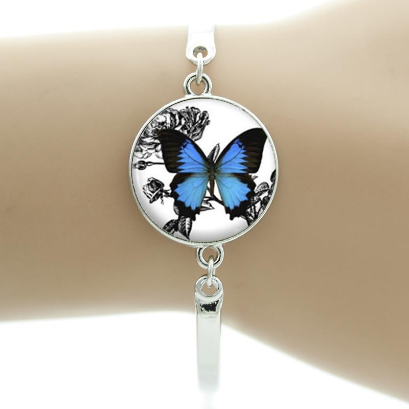 Romantische weiße und blaue schmetterling kunst bild glas halskette - Modeschmuck - Foto 4