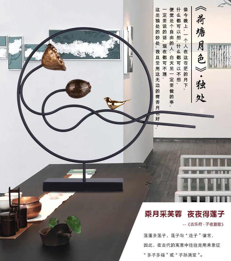 Novo Chinês Zen Ornamentos Riqueza Convidativo Retratos de Lótus Criativo Início Mobiliário Tv Gabinete Modelo Inquilino Salão De Artesanato Em Ferro