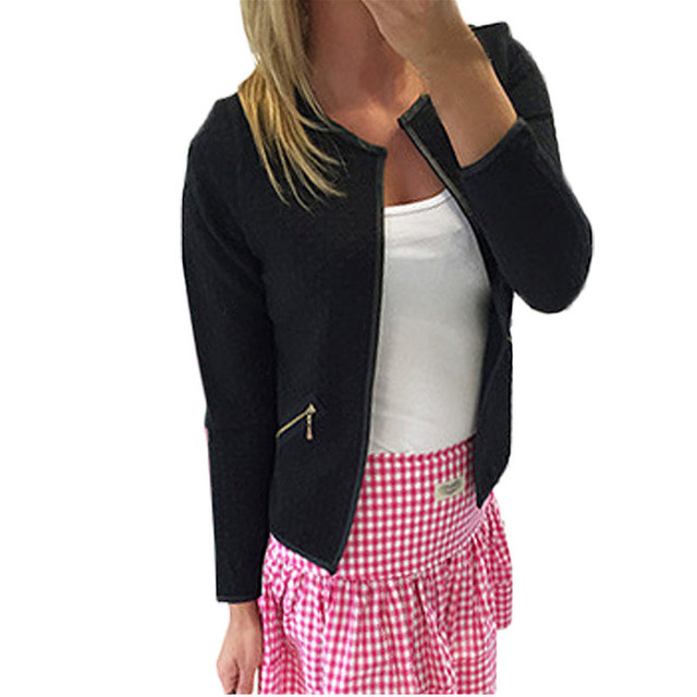New Fashion Women Blazer Winter Jacket Short Tops 2017 Autumn Winter Zipper Long Sleeve Crew Neck Zipped Suit 1