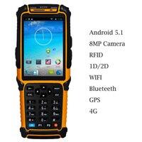 Android 5.1 Handheld Terminal de Código De Barras Scanner Leitor 4.0
