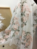 One Yard Gorgeous Pink Grey Tulle Embroidery Lace Fabic By Yard For Gowns Lace Dress Bridals