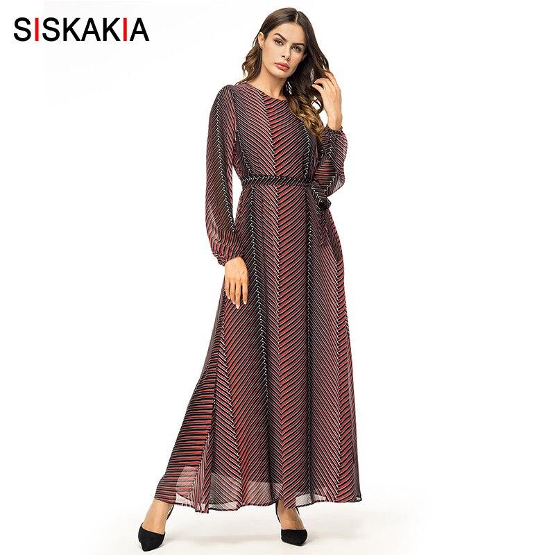455403558cbd6 Siskakia Maxi long Dress Elegant Vintage Stripes Printed Swing Dress  Chiffon Long Sleeve Casual Muslim Dresses Brown Autumn 2018