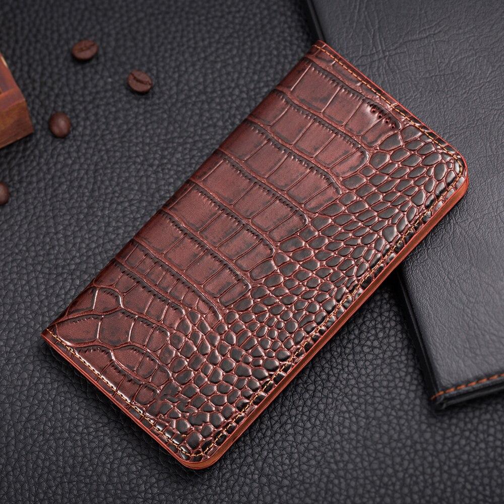 imágenes para Imán de la vendimia genuina de cuero case para huawei honor 6x teléfono móvil de lujo cubierta de cuero de grano del cocodrilo