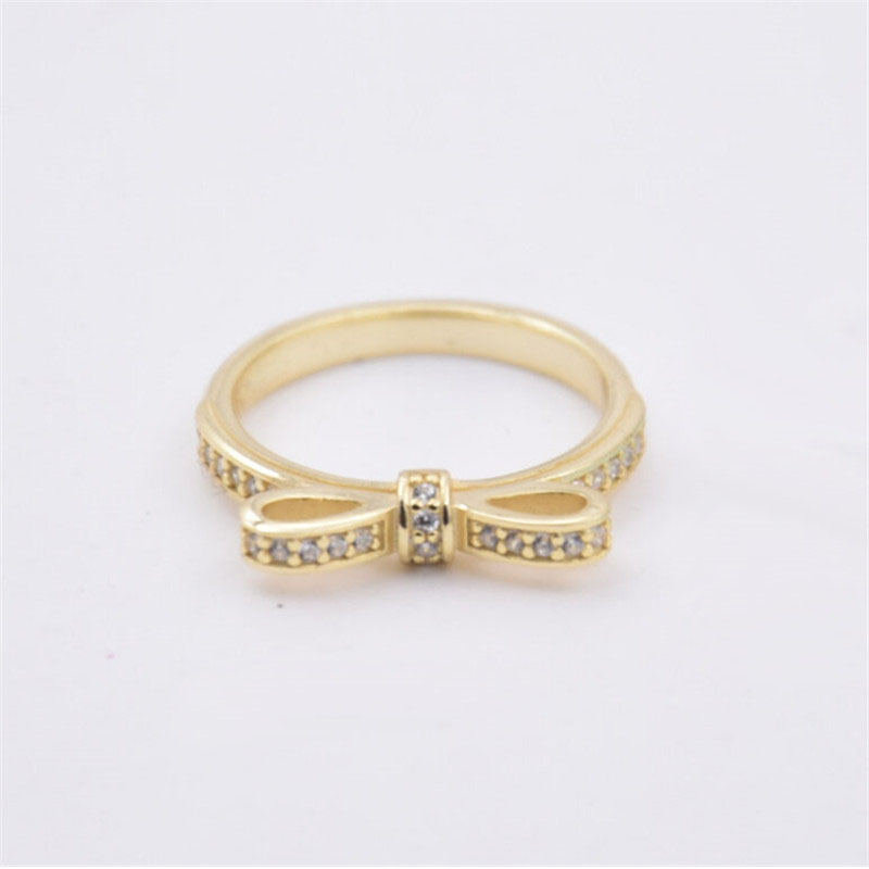 Rings Compatible with Brand Jewelry 925 Sterling Silver Bow Ring Antique Pave Zircon Rings For Women Wedding DIY charms