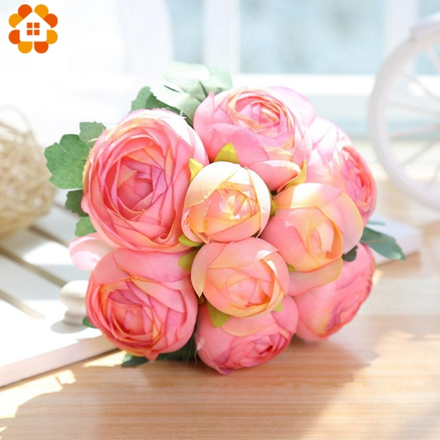 9Heads/Branch DIY Artificial Lotus Flower Bouquet Flower Buds ...