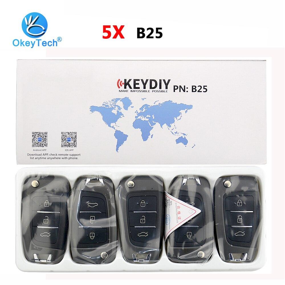 OkeyTech 5pcs/lot B25 KD Remote Control Car Keydiy 3 Button B Series for KD MINI KD900 URG200 Key Programmer For Hyundai Elantra