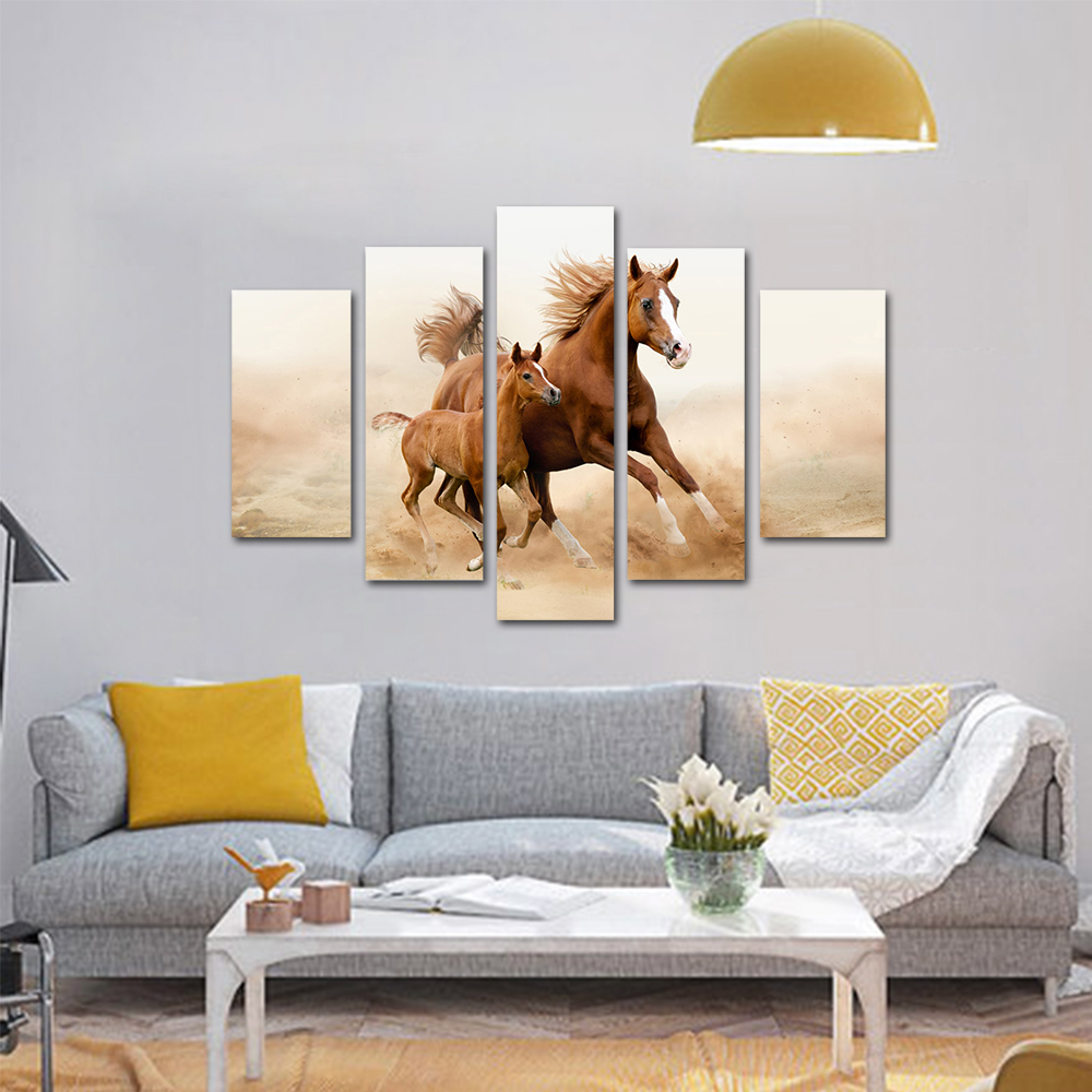 Unframed HD Print 5 Canvas Art Painting Running Horse Living Room Decoration Spray Painting Mural Unframed Free Shipping