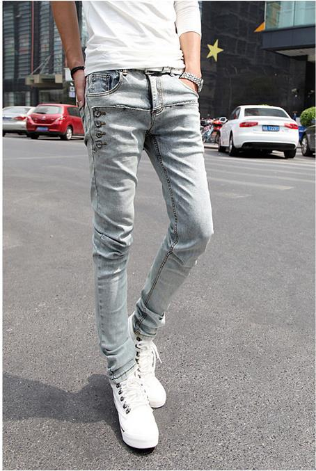 ФОТО Jeans Mens Skinny Biker Jeans Slim Fit Washed Jeans Men Denim Jeans Pants Men 27- 36 Size Pantalones Hombre