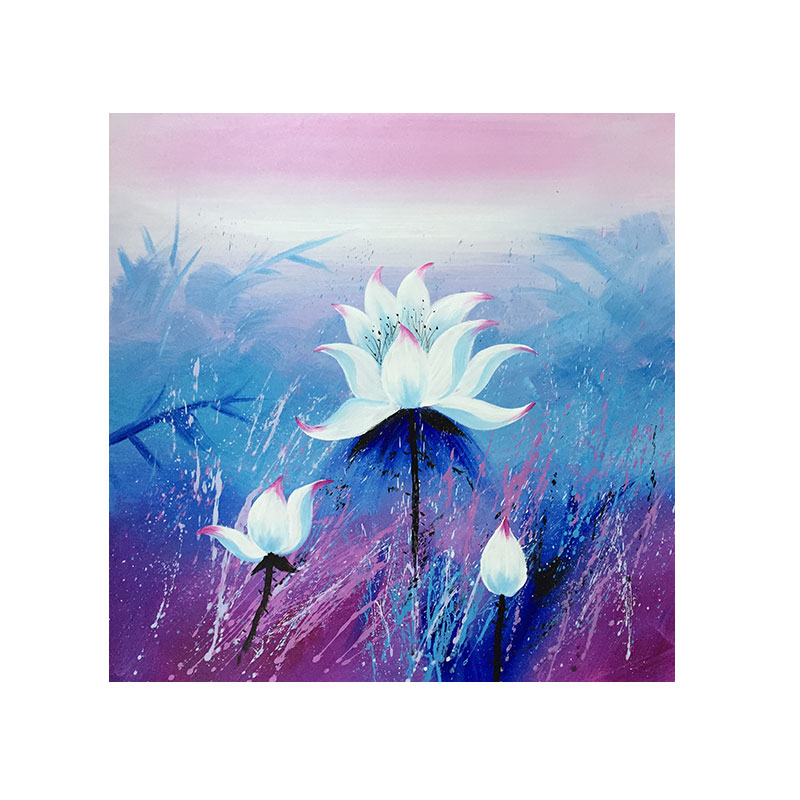 Abstract Painting Modern Art Purple Lotus Flower Drawing On The Wall