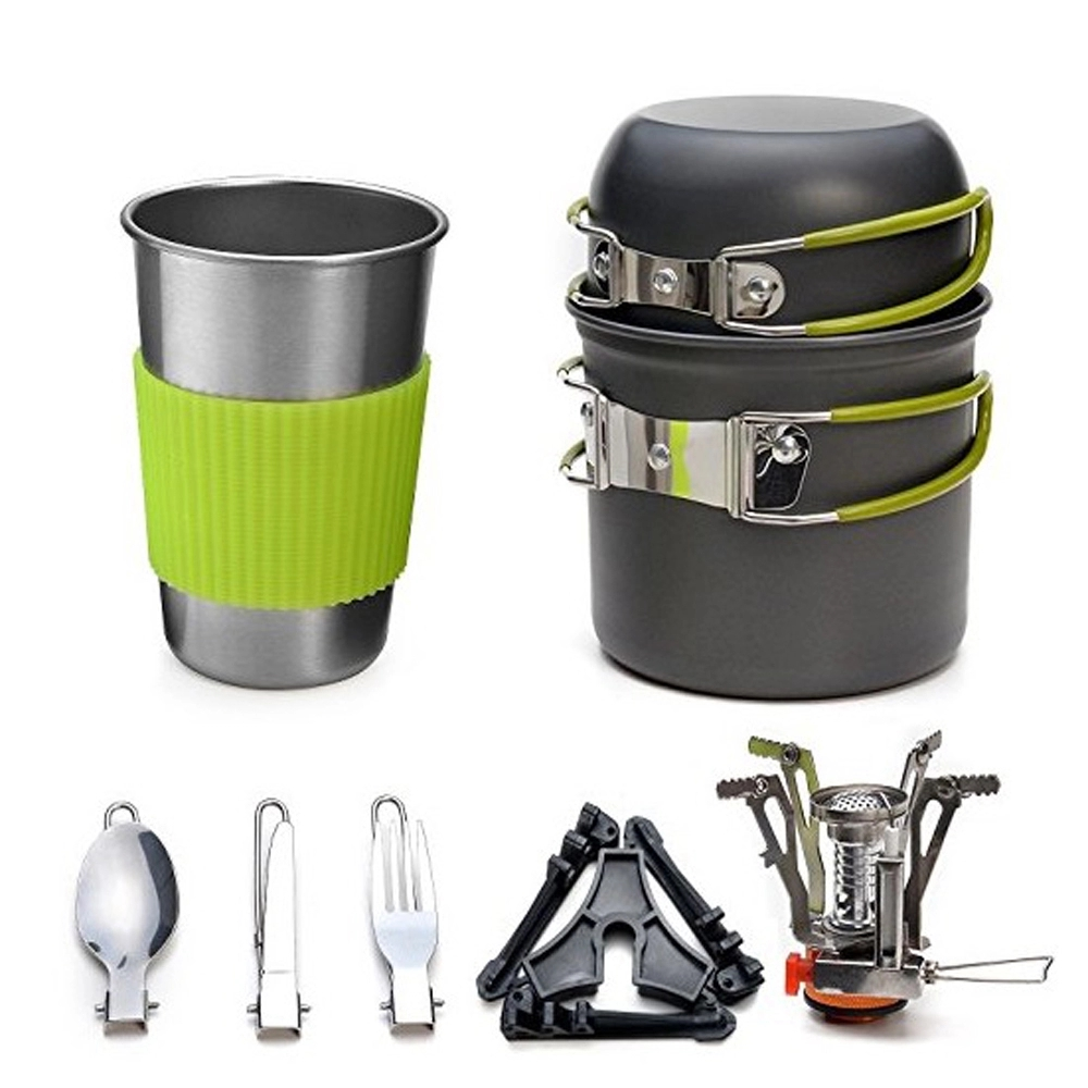 Outdoor Camping Cookware Utensils Hiking Backpacking Tableware Pot Pan Outdoor Cooking Picnic Stove+Cups+Tableware Set