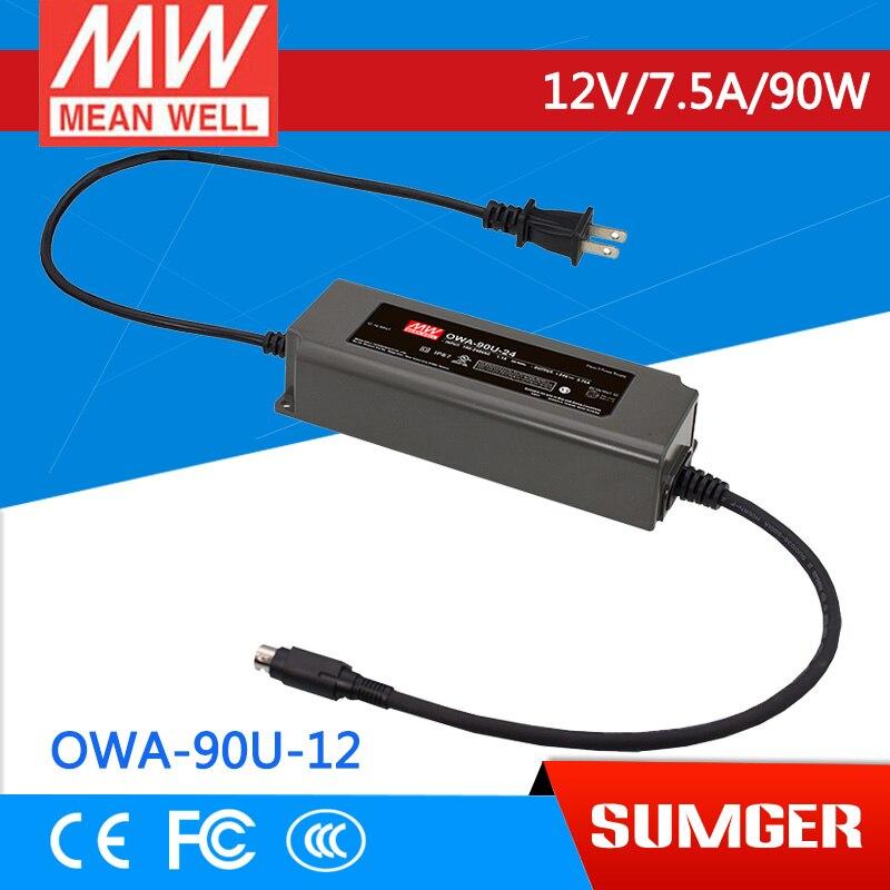 цена на MEAN WELL original OWA-90U-12-P1M 12V 7.5A meanwell OWA-90U 12V 90W Single Output Moistureproof Adaptor USA Type
