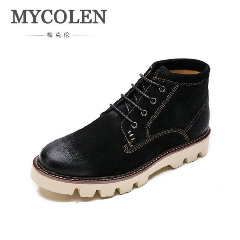 MYCOLEN Brand Winter Mens Boots Fashion Lace Up Man Shoes Ankle Boots For Men Vintage Casual Mens Shoes Bota Masculina Couro