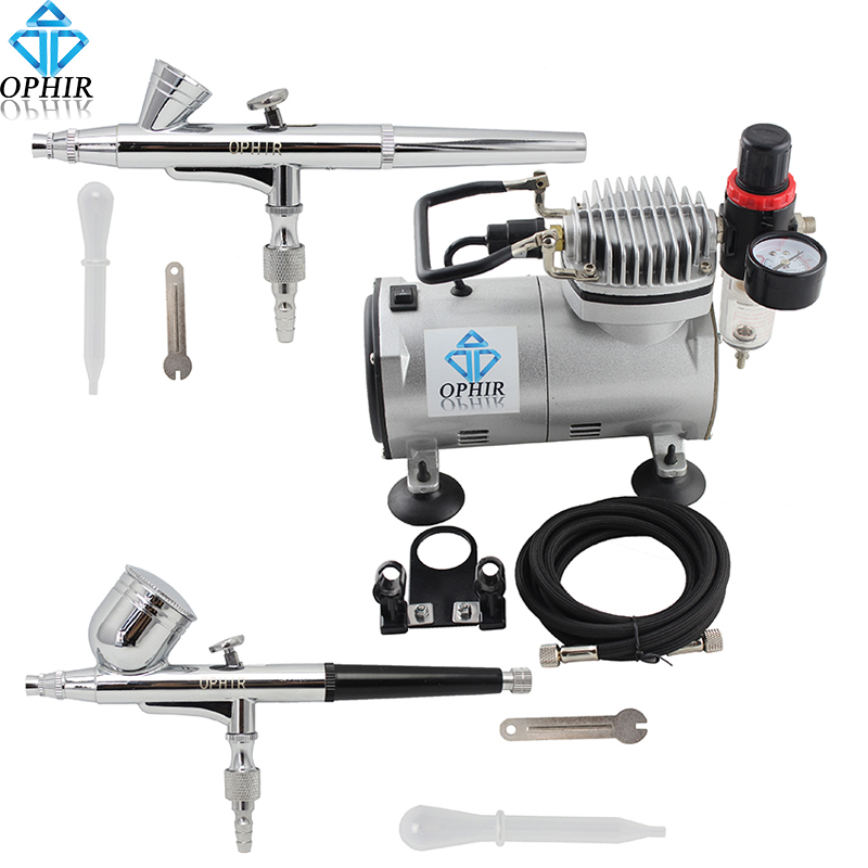 OPHIR 2 Dual Action Airbrush Kit with Air Compressor 110V 220V for Nail Art Airbrushing Cake Decorating Makeup_AC089+AC004+AC073 phir 2 airbrush kit 0 2mm 0 3mm dual action gravity paint gun compressor set for makeup nail art 110v 220v ac088 ac004 ac073