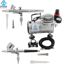 OPHIR 110V,220V 2 Sets Double Dual Action Airbrush Kit with Air Compressor for Nail Art Airbrushing  #AC089+AC004+AC073