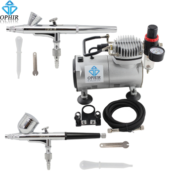 OPHIR 2 Dual Action Airbrush Kit with Air Compressor 110V 220V for Nail Art Airbrushing Cake Decorating Makeup_AC089+AC004+AC073 eu plug dual action mini airbrush with compressor cake decoration 100 250v with airbrush cleaning set and mini air filter