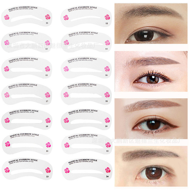 24 Pcs Reusable Eyebrow Stencil Set Eye Brow Diy Drawing Guide