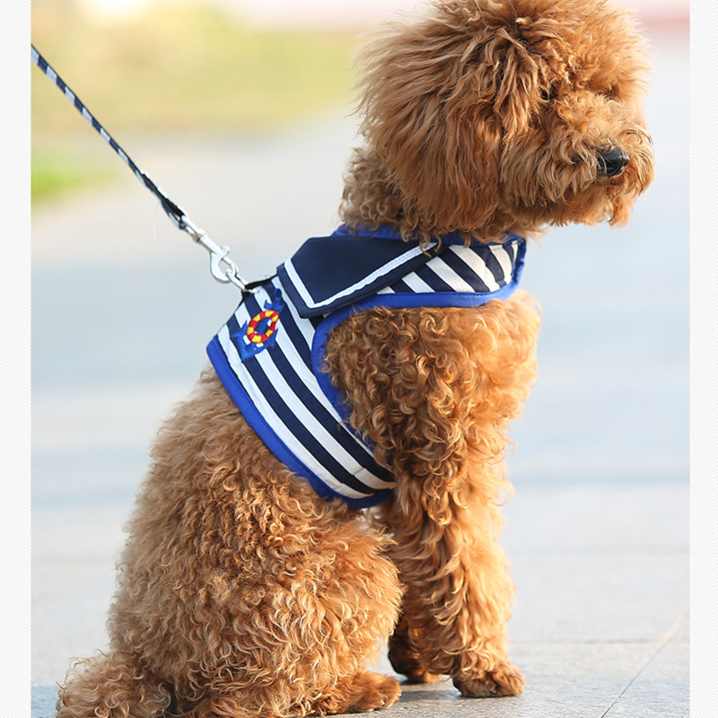 Striped Navy Dog Vest Hoodies Clothing For Dogs Pet Chihuahua Teddy Dog Clothes