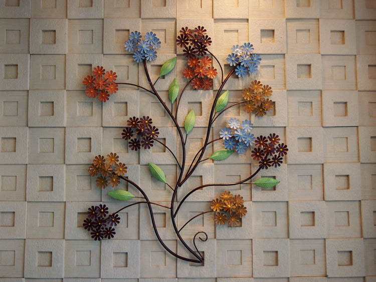 Vintage rural metal flower blooms hanging wall decor home for Decorative flowers for crafts