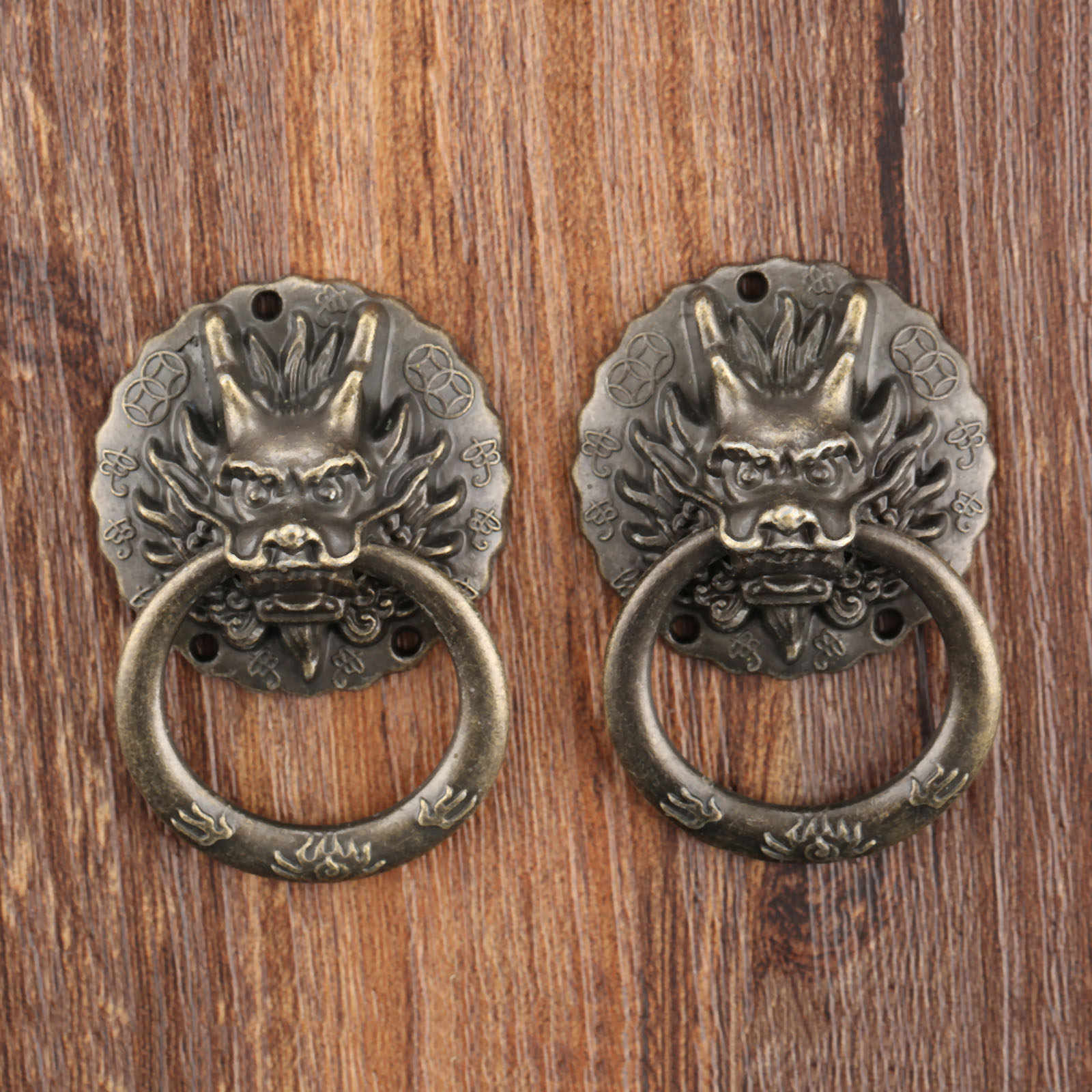 2 Stuks Vintage Dragon Head Meubelen Deur Pull Handle Kast Ladekast Knoppen Ring Handvat Meubels Hareware 32*47mm
